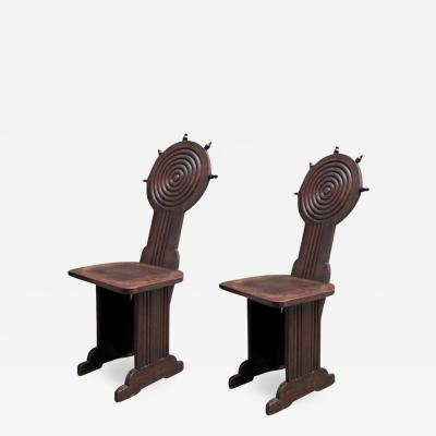 Charles Dudouyt Charles Dudouyt style rare pair of wood carved chairs