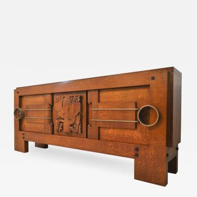 Charles Dudouyt Exceptional Sideboard in Solid Oak Signed Charles Dudouyt 1937