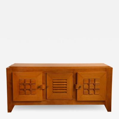 Charles Dudouyt LARGE OAK SCULPTED FRONT SIDEBOARD BY CHARLES DUDOUYT