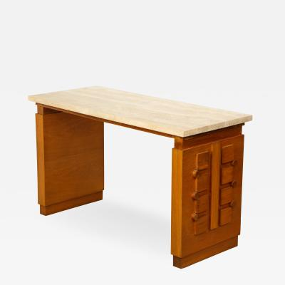 Charles Dudouyt Sculpted oak console desk with stone top by Charles Dudouyt