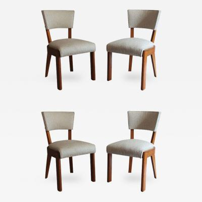 Charles Dudouyt Set of Four Fine French Art Deco Oak Chairs by Charles Dudouyt
