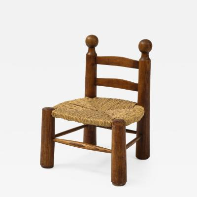 Charles Dudouyt Small Chair Rush Seat and Ball Finials Attributed to Charles Dudouyt France