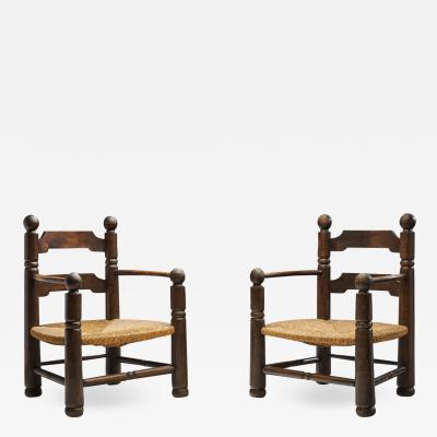 Charles Dudouyt Wood and Wicker Turned Chairs by Charles Dudouyt France 1940s