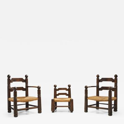 Charles Dudouyt Wood and Wicker Turned Chairs with a Miniature by Charles Dudouyt France 1940s