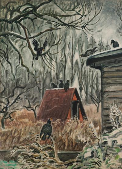 Charles E Burchfield Crows at Twilight