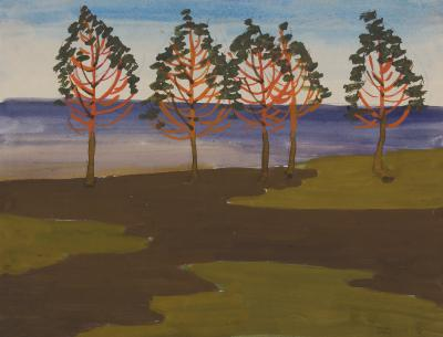 Charles E Burchfield Red Trees Against the Lake
