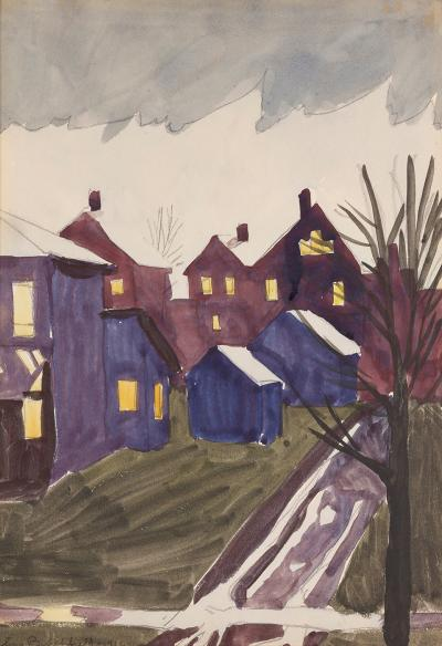 Charles E Burchfield Thawing Snow or Wet Winter Dusk 1916