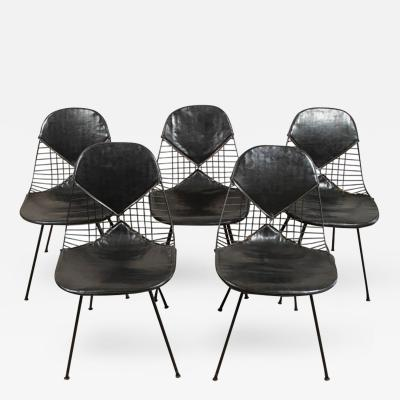 Charles Eames A Set of Four Bikini Wire Dining Chairs by Charles Eames