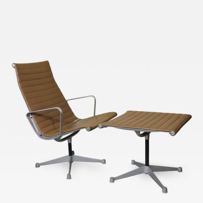 Charles Eames Charles Eames Aluminum Group Lounge Chair and Rare Ottoman