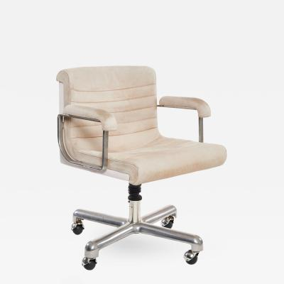 Charles Eames Eames Style White Leather Rolling Desk Chair