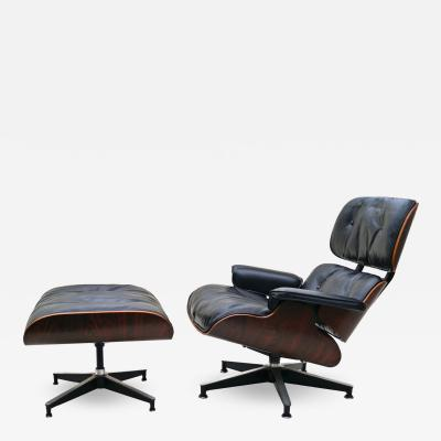 Charles Eames Early Herman Miller Rosewood Charles Eames Black Leather Lounge Chair Ottoman