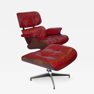 Charles Eames Early Rosewood Custom Red Leather Eames 670 Chair 671 Ottoman