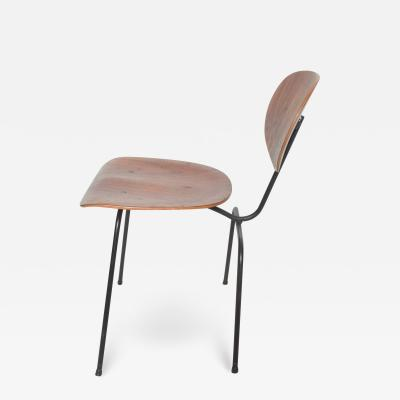 Charles Eames Floating Bent Plywood Chair on Curved Black Iron Frame Modern Eames Style 1950s