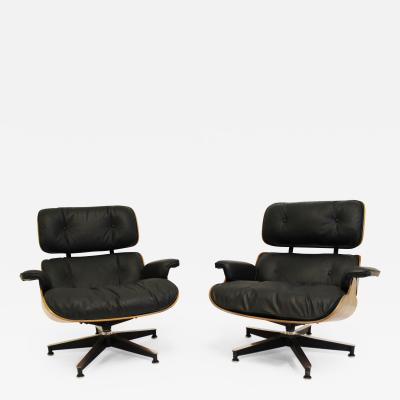 Charles Eames Pair of Charles Eames Lounge Chair and Ottomans Model 670 671 in Rosewood