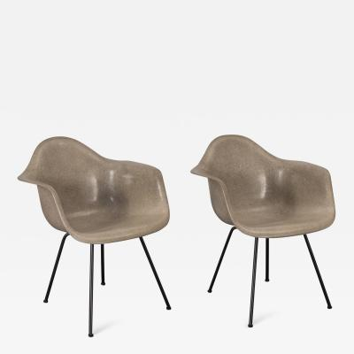 Charles Eames Pair of Eames Greige Arm Shell Chairs