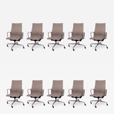 Charles Eames Set of 10 American Post War Design 1950s Aluminum Swivel Conference Chairs
