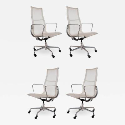 Charles Eames Set of Four Charles Eames for Herman Miller White Conference Room Office Chairs