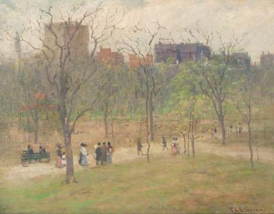 Charles Edwin Lewis Green Boston Common Looking Toward Beacon Street n d