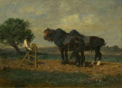 Charles Emile Jacque Preparing the Plow French Antique Barbizon Painting by Charles Emile Jacque