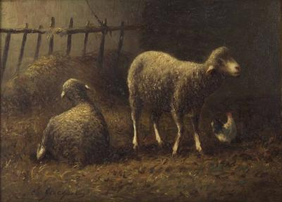 Charles Emile Jacque Sheep in Stable in oil on panel Charles Emile Jacque