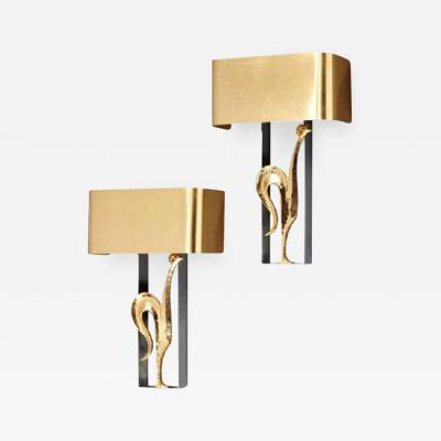 Charles Fils Stylish pair of gilded bronze and brass Rooster sconces by Maison Charles