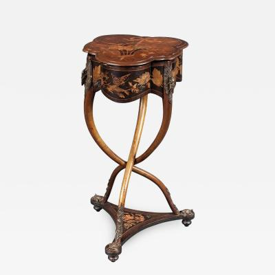 Charles Guillaume Diehl Rare French Art Nouveau Marquetry Table by Charles Guillaume Diehl circa 1878