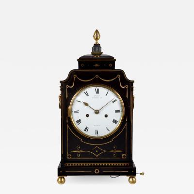 Charles Haley Wigmore Street London A fine English Regency period enamel dial ebonised bracket clock
