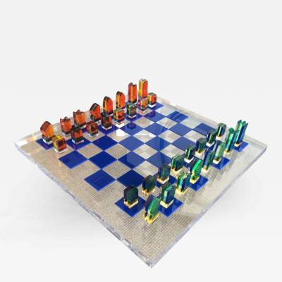 Charles Hollis Jones 1960s Lucite Chess Set by Charles Hollis Jones