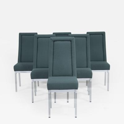 Charles Hollis Jones A Set of Six Charles Hollis Jones Lucite and Upholstered Dining Chairs 1970s