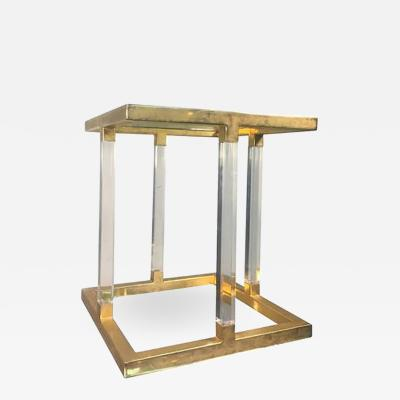 Charles Hollis Jones Amazing Lucite and Brass Accent or Side Table by Charles Hollis Jones