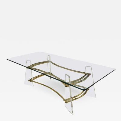 Charles Hollis Jones Attractive Vintage Brass and Lucite Cocktail Table By Charles Hollis Jones