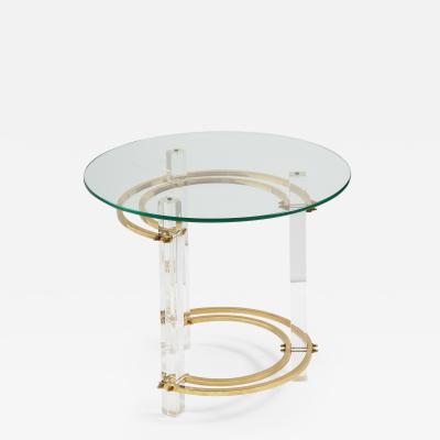 Charles Hollis Jones Brass Glass Lucite Round Side Table by Charles Hollis