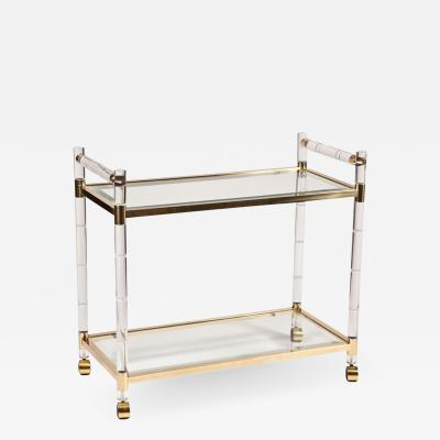 Charles Hollis Jones Brass Lucite Bar Cart