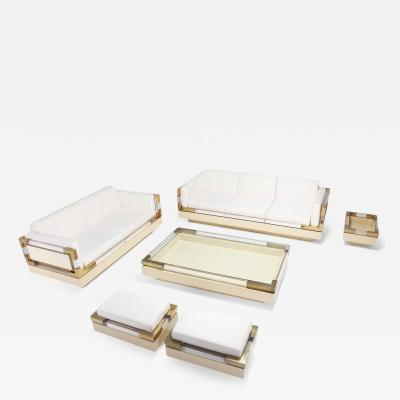 Charles Hollis Jones Brass Lucite Living Room Set by Charles Hollis Jones 1970s