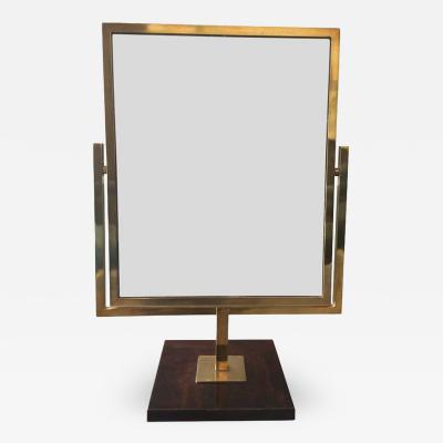 Charles Hollis Jones Brass and Burlwood Double Sided Vanity Mirror by Charles Hollis Jones