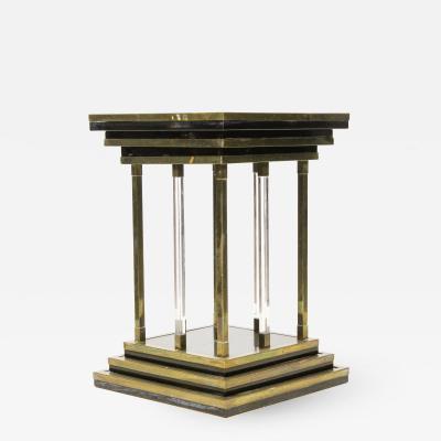 Charles Hollis Jones Brass and Lucite Modernist Pedestal