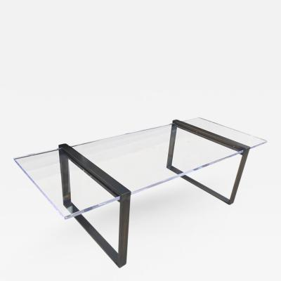 Charles Hollis Jones Charles Hollis Jones Box Coffee Table in Bronze and Lucite