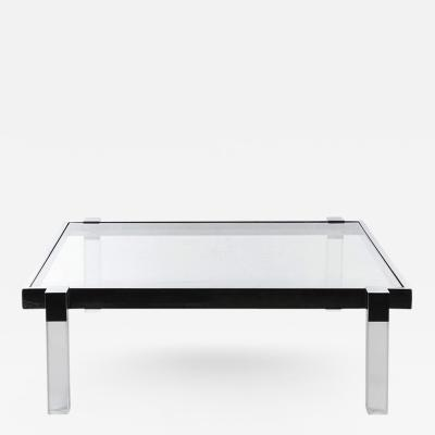 Charles Hollis Jones Charles Hollis Jones Box Line Coffee Table in Lucite and Polished Nickel