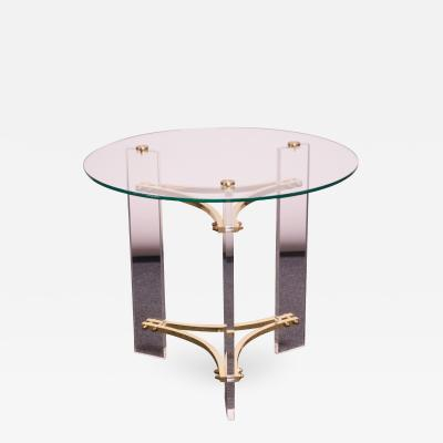 Charles Hollis Jones Charles Hollis Jones Brass and Lucite Accent Table with Glass Top