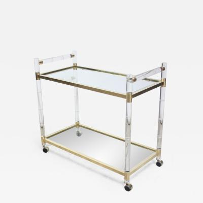 Charles Hollis Jones Charles Hollis Jones Lucite Faux Bamboo and Brass Serving Cart
