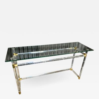 Charles Hollis Jones Charles Hollis Jones Lucite and Brass Console Sofa Table