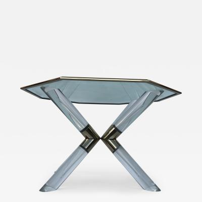Charles Hollis Jones Charles Hollis Jones Lucite and Brass Post and Truss Dining Table