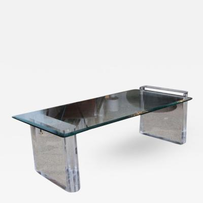 Charles Hollis Jones Charles Hollis Jones Lucite and Glass Low Table