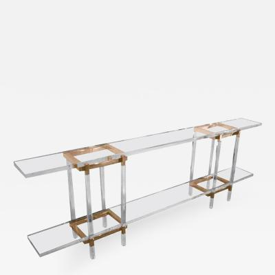 Charles Hollis Jones Charles Hollis Jones Metric Console Table in Lucite and Brass