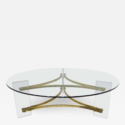 Charles Hollis Jones Charles Hollis Jones Mid Century Modern Brass Lucite Round Glass Coffee Table