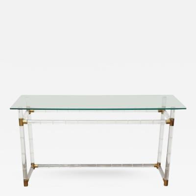 Charles Hollis Jones Charles Hollis Jones Mid Century Modern Lucite Glass Brass Console Table