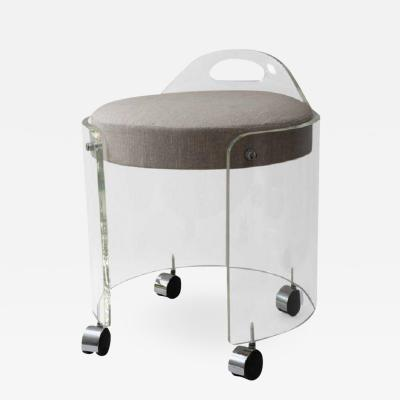 Charles Hollis Jones Charles Hollis Jones Round Lucite Vanity Stool on Casters