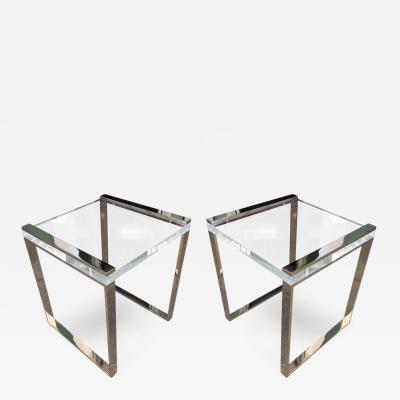 Charles Hollis Jones Charles Hollis Jones Side Tables in Lucite and Polished Nickel from the Box Line