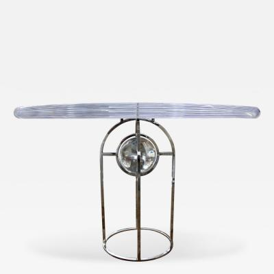 Charles Hollis Jones Charles Hollis Jones Thick Lucite Table with Bull Radius Edge and Nickel Base