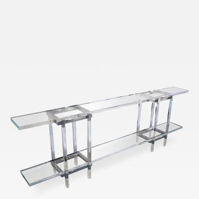 Charles Hollis Jones Console Table in Lucite and Polished Nickel by Charles Hollis Jones